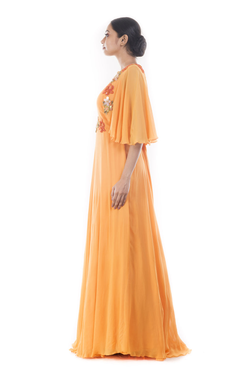 Coral Yellow Flare Jacket Gown