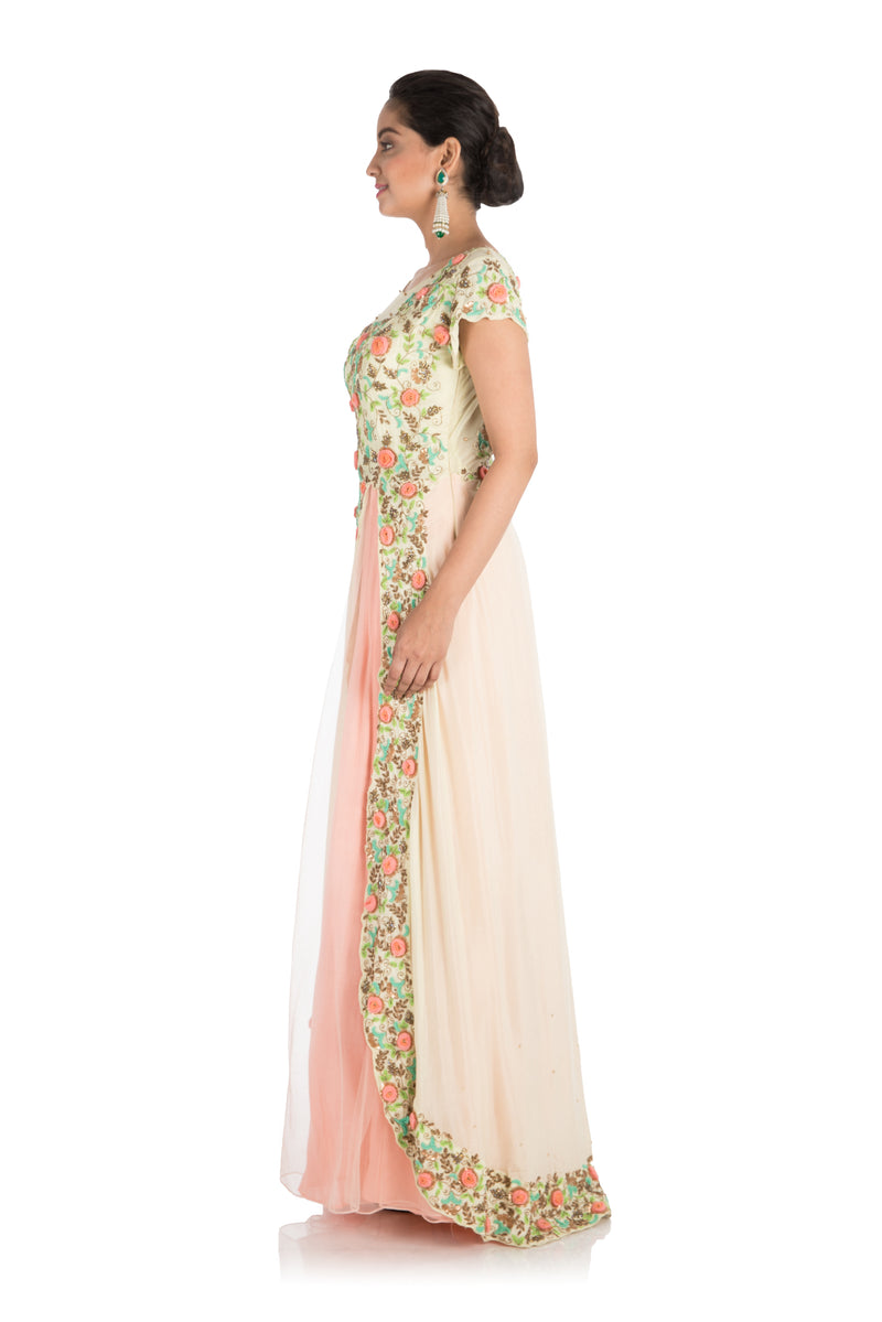 Hand Embroidered Pale Peach and Yellow Gown
