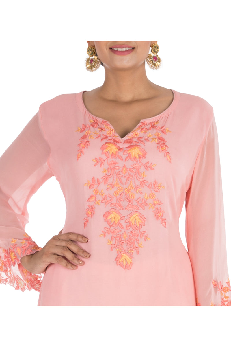 Powder Pink Embroidered Kurti With White Dhoti Pants