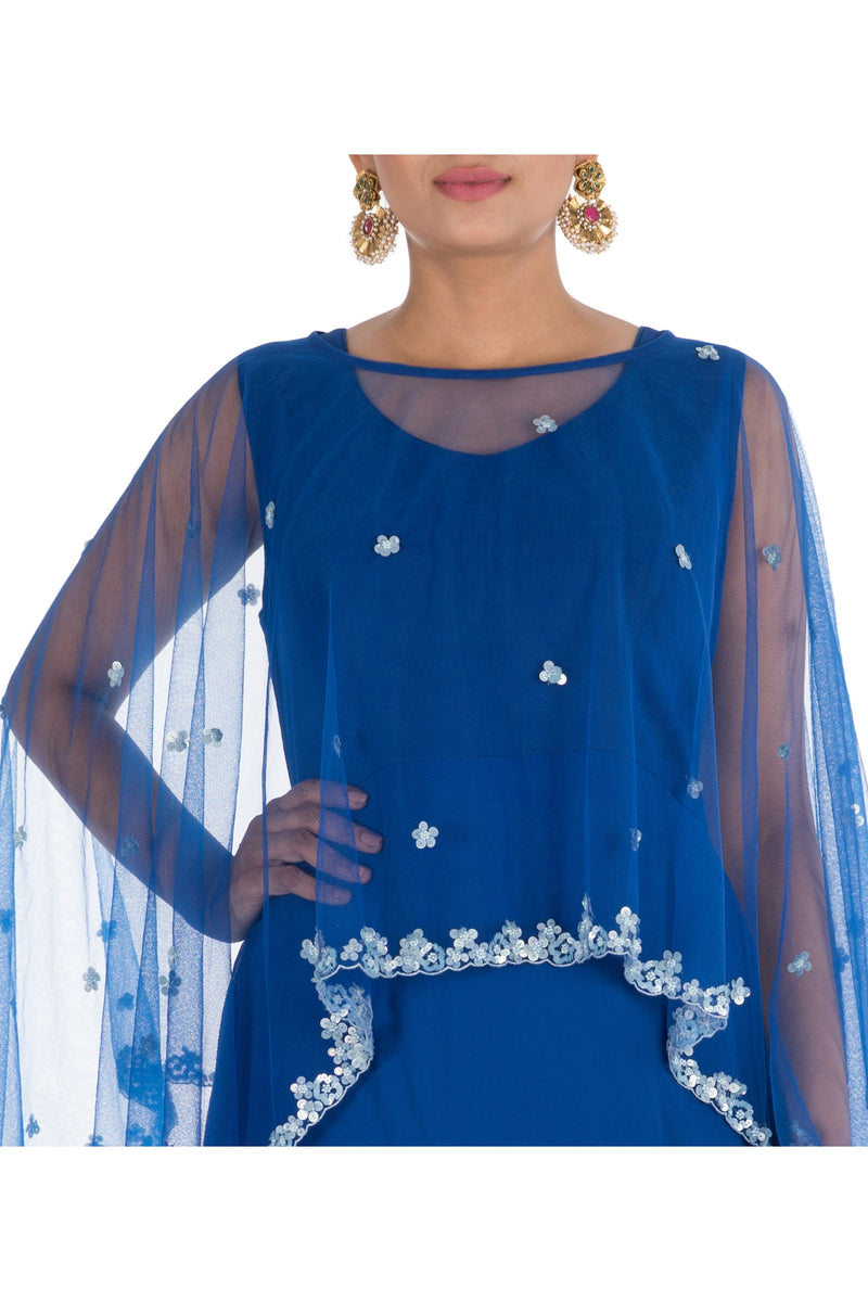 Hand Embroidered Royal Blue Tie & Dye Cape Gown