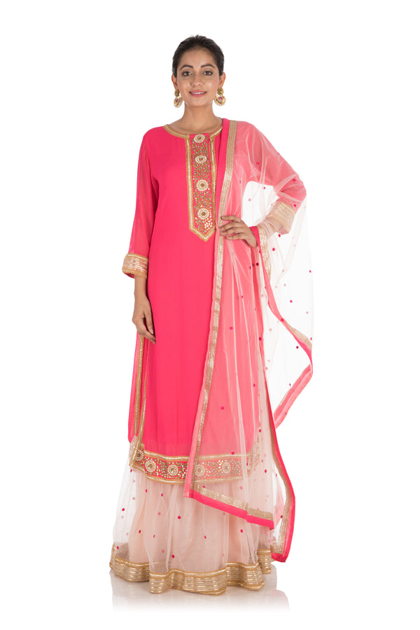 Rani Pink Gota Work Kurti With Attached Ghagra