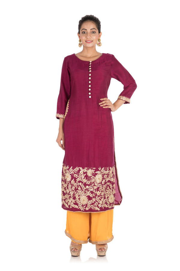 Hand Embroidered Purple & Mustard Yellow Pallazo Set