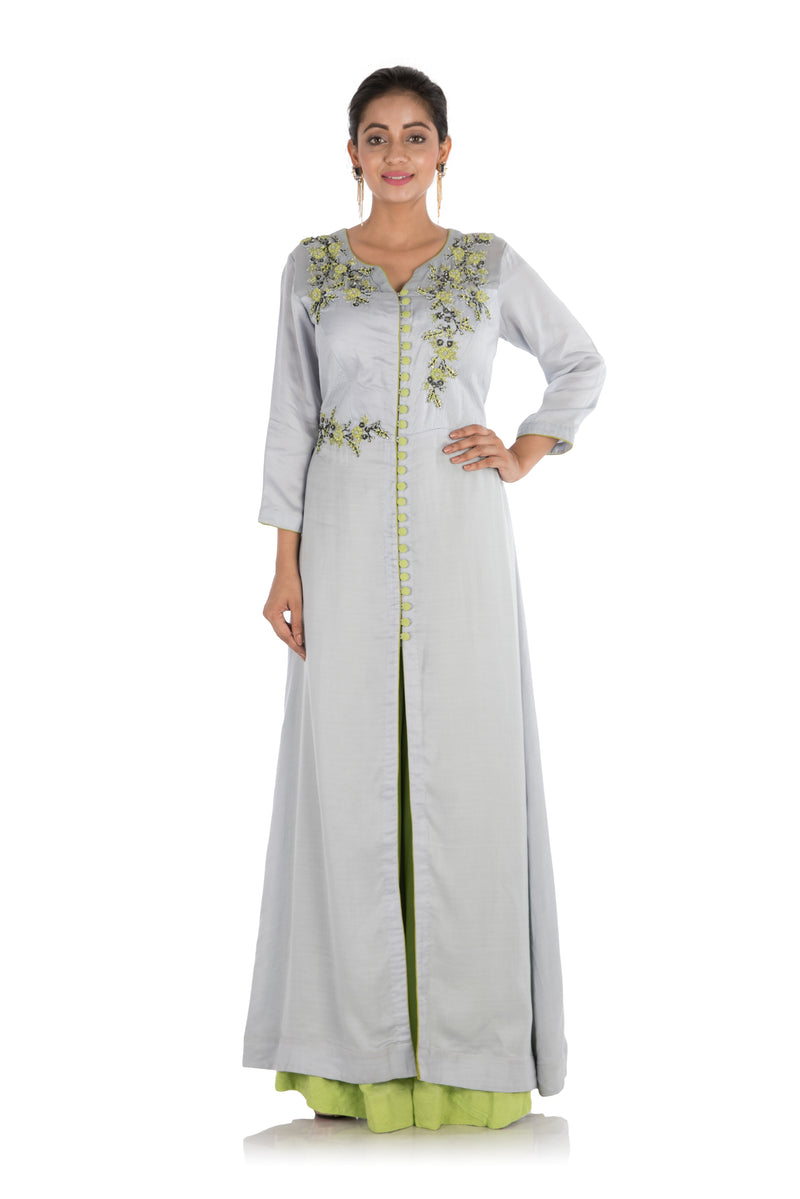 Hand Embroidered Cloud Grey & Pear Green Sharara Set