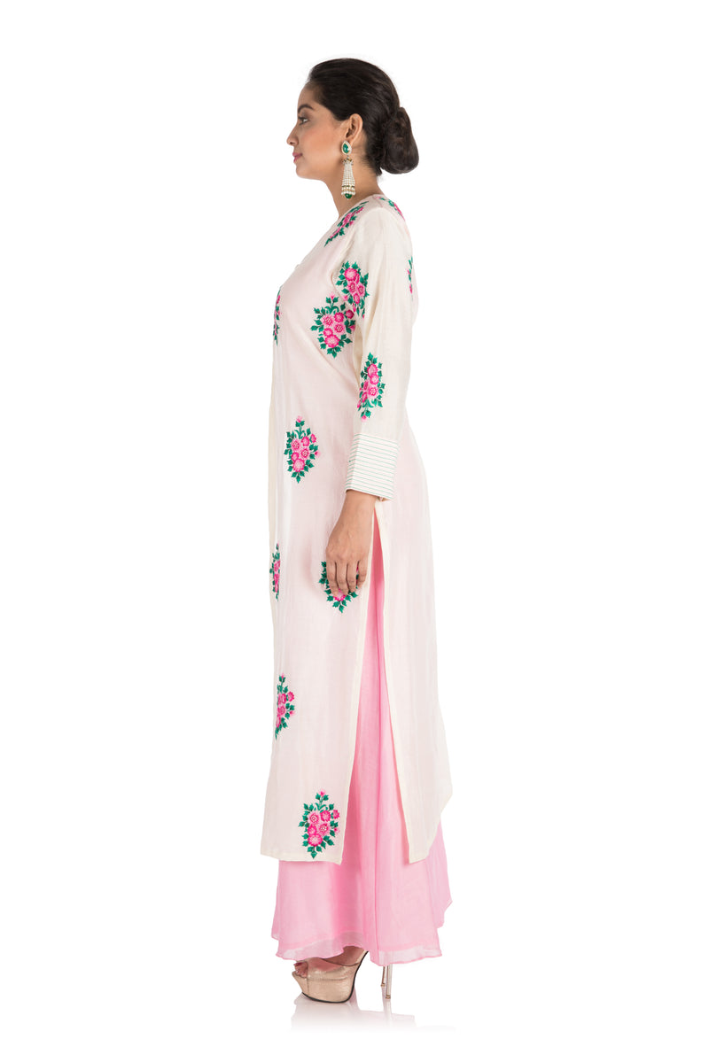 Baby Pink & Off White Attached Jacket Kurti