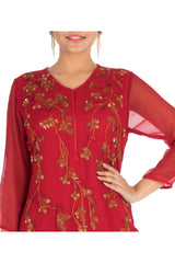 Hand Embroidered Rose Blush Double Layer Kurti