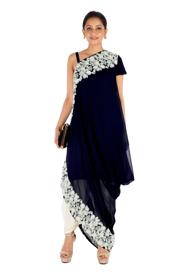 Hand Embroidered Prussian Blue Drape Kurti With Dhoti Pant