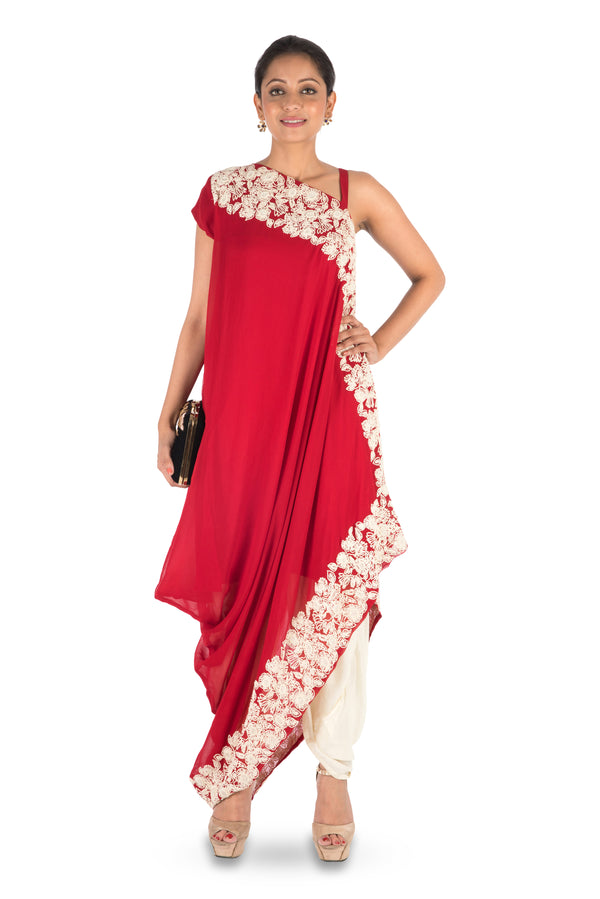Hand Embroidered Ox Blood Red Drape Kurti With Dhoti Pant.