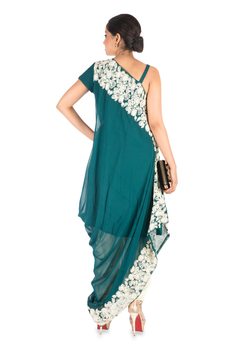 Hand Embroidered Cadet Blue Drape Kurti With Dhoti Pant