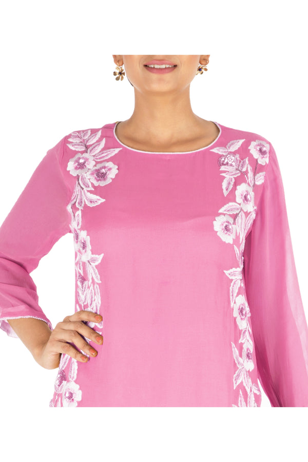 Resham Embroidered Pretty Pink Suit Set