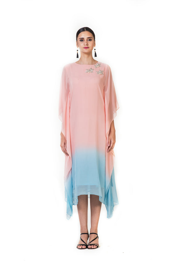 Pink Hand Embroidered Shaded Kaftan Style Tunic