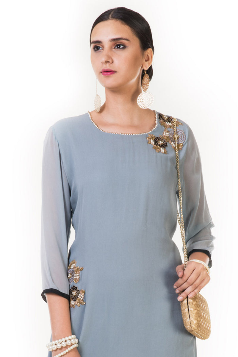 Floral Embroidered Grey Tunic