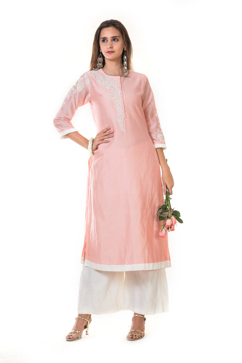 Pink Hand Embroidered Long Kurta with Palazzo Pants