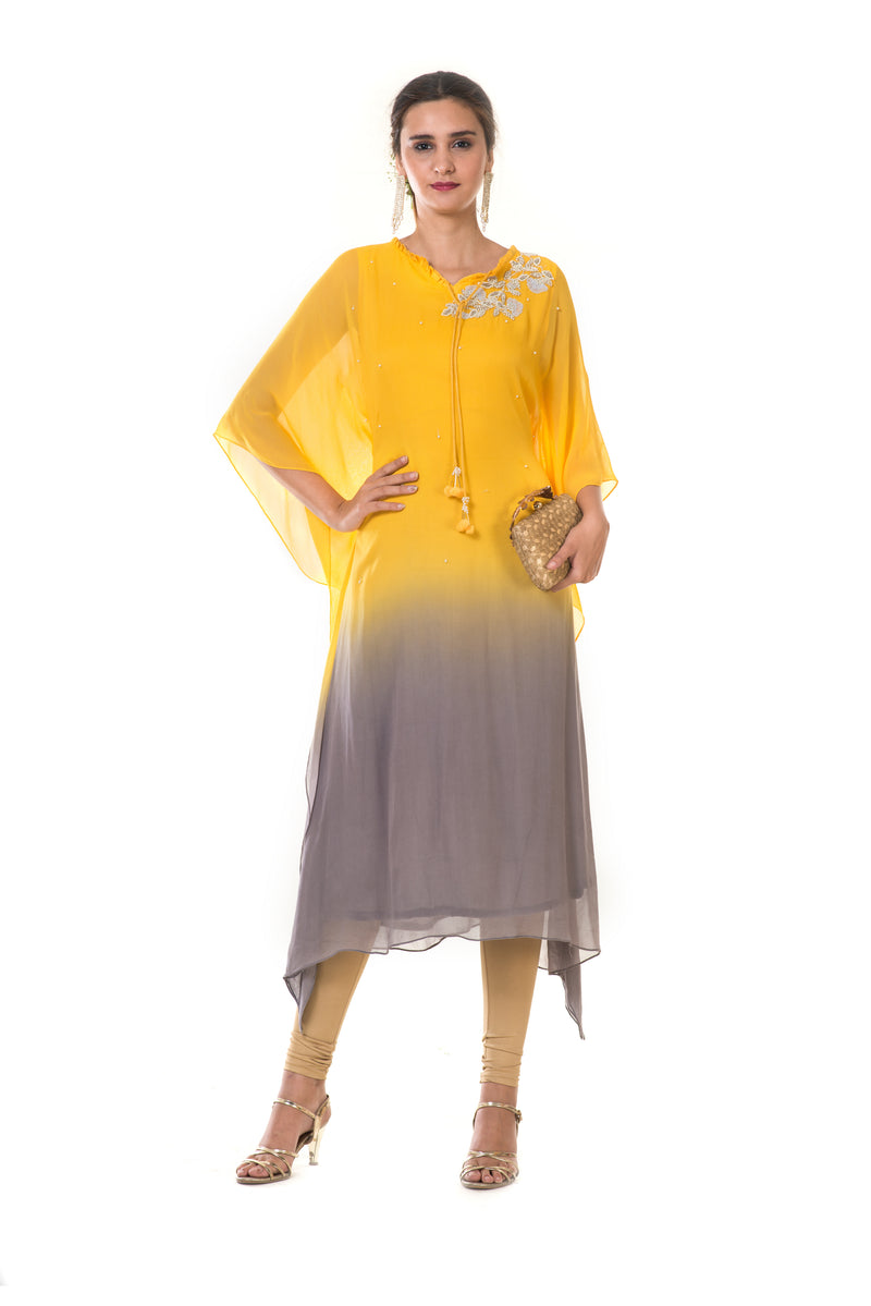 Hand Embroidered Yellow & Grey Shaded Kaftan