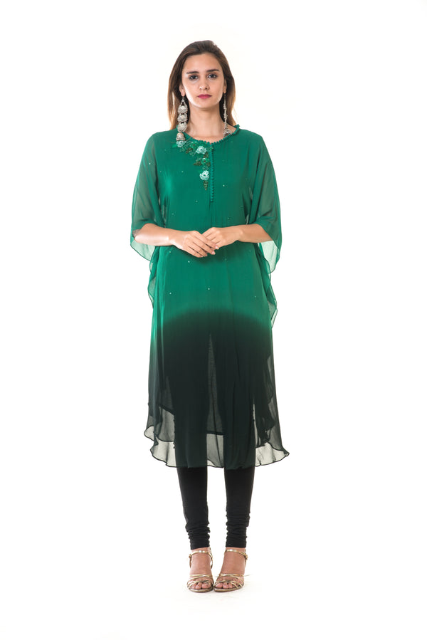 Hand Embroidered Green & Black Shaded Kaftan