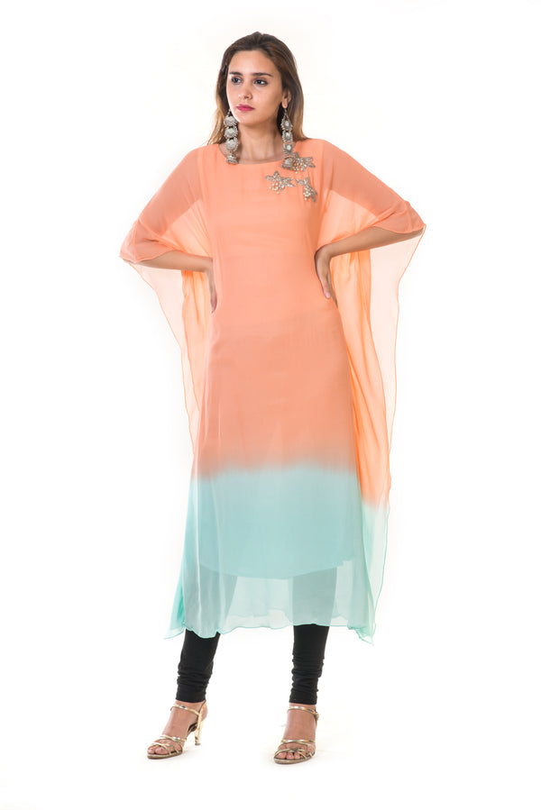 Hand Embroidered Peach & Blue Shaded Kaftan
