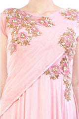 Misty Rose Attached Dupatta Suit Set