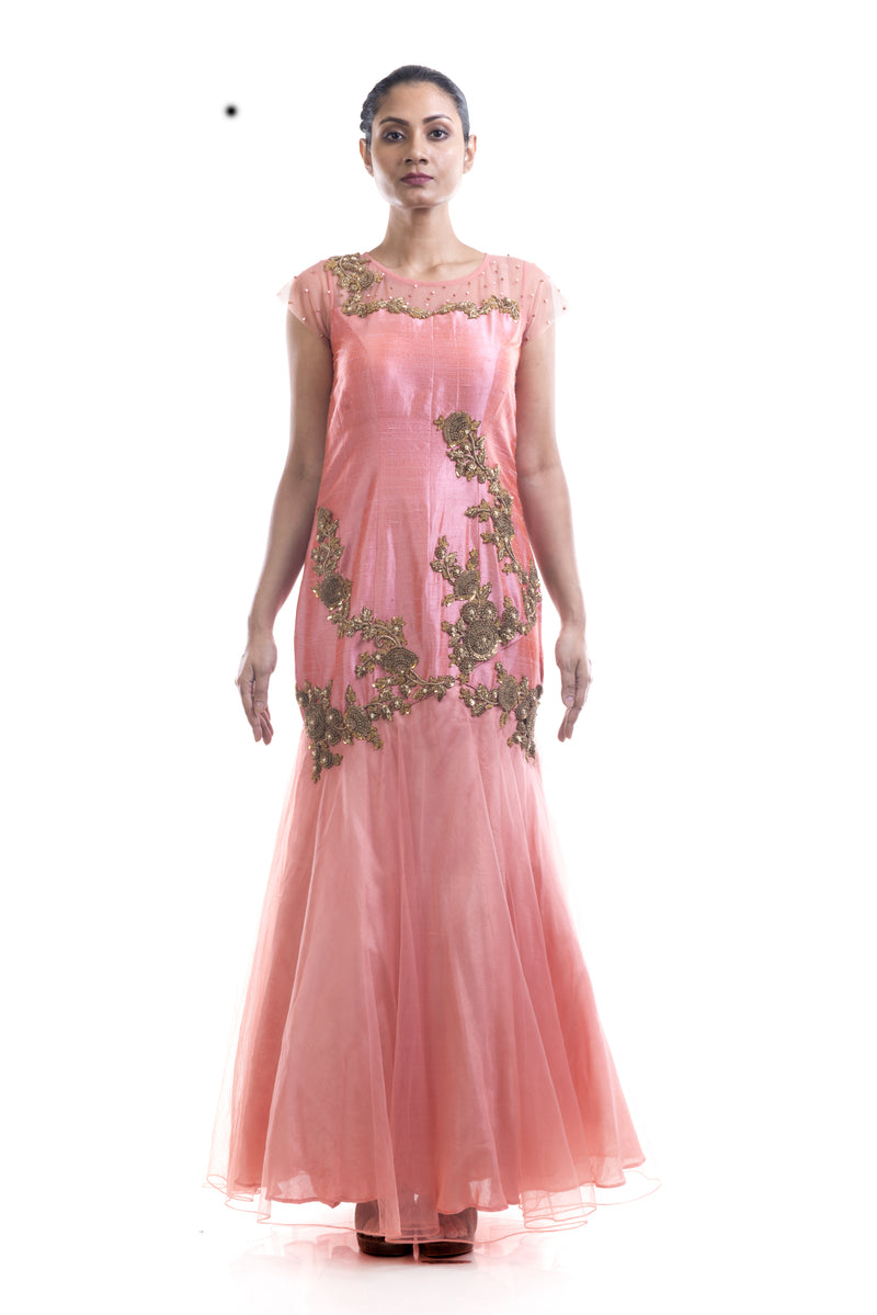 Light Salmon Floral Gown
