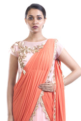 Coral & Pink Gown Saree