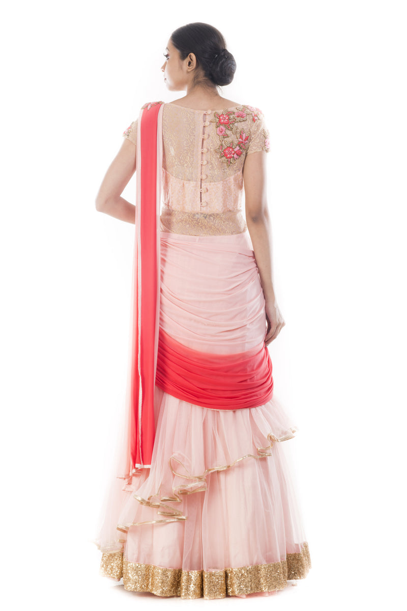 Lilac Pink Gown Saree