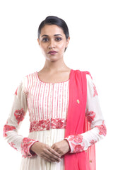 AntiqueWhite & Red Embroidered Suit Set