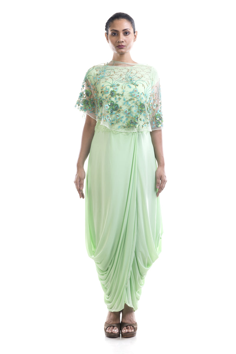Azure Dhoti Draped Gown & Cape Set
