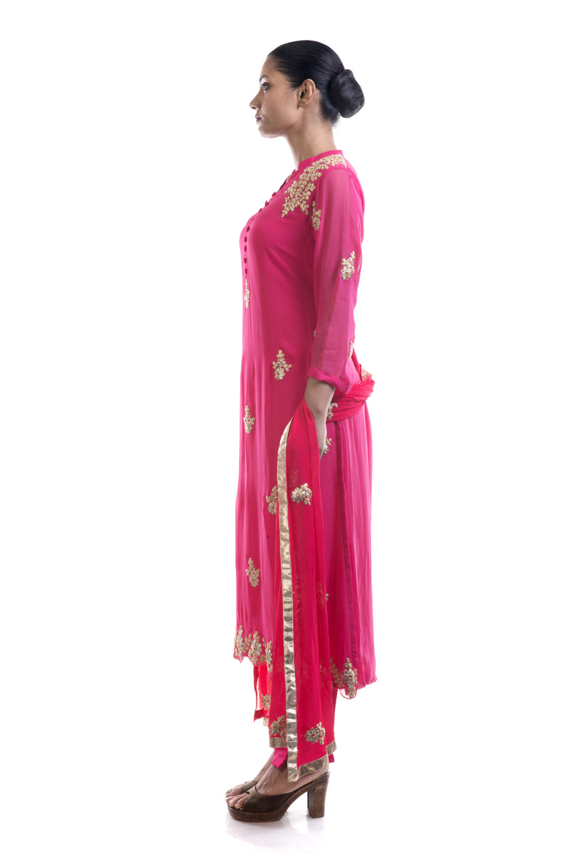 Deep Pink Embroidered Suit Set