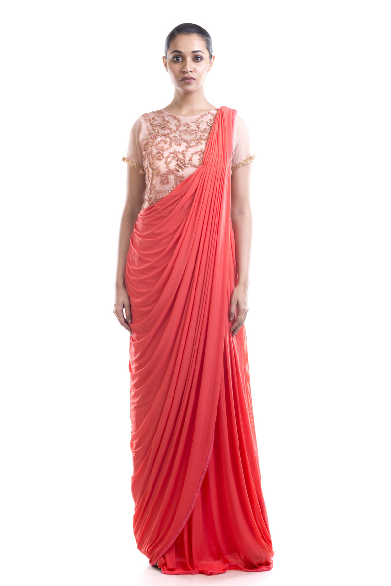 Bisque & Tomato Red Gown Saree