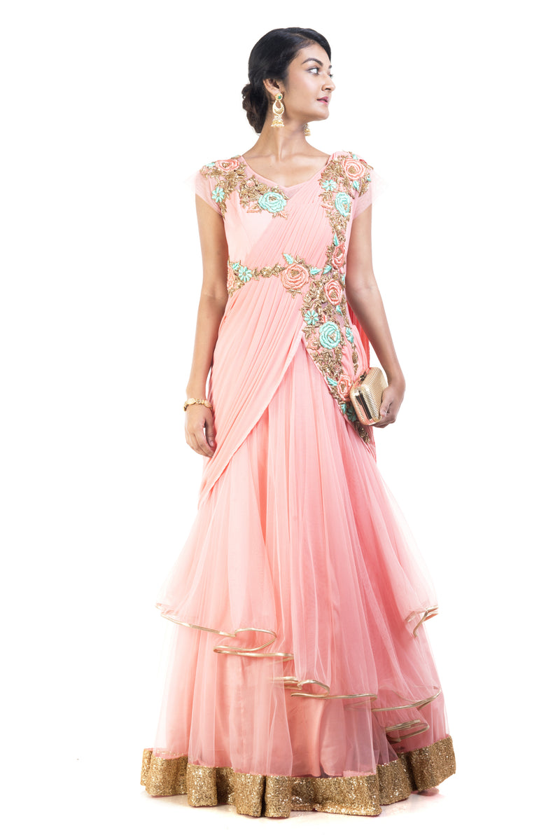 Blush Pink Double Layered Gown Saree