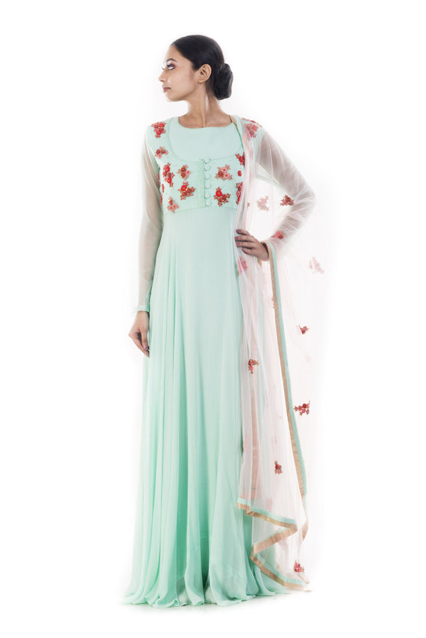 Turquoise Blue Anarkali  Suit Set