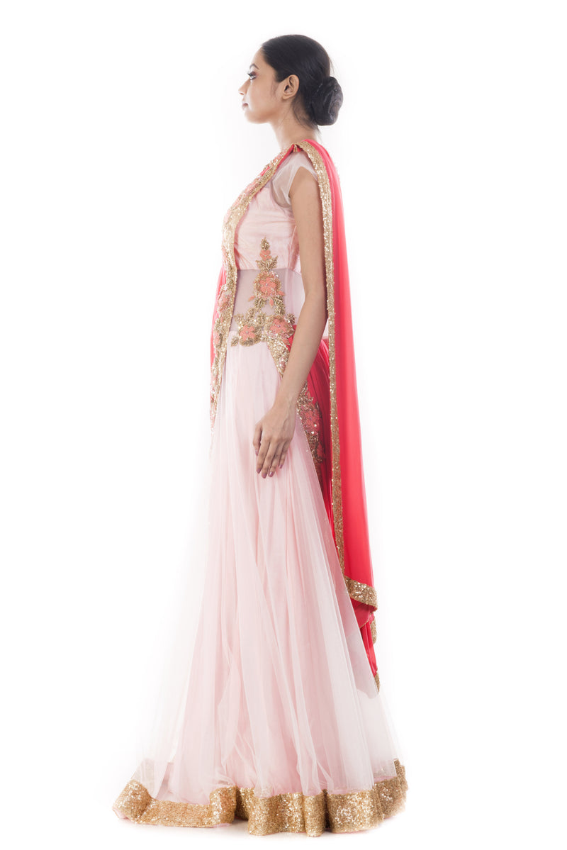Pink Sand & Peach Gown Saree
