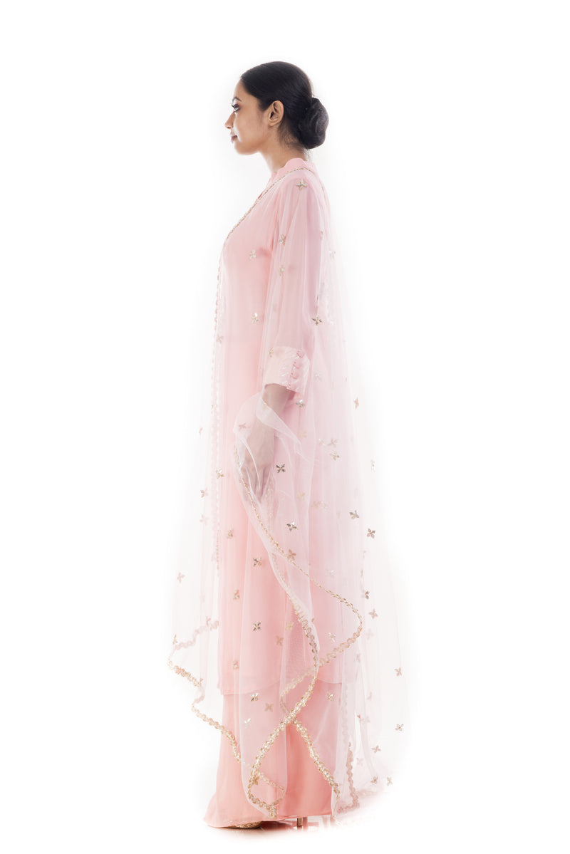 Blush Pink Embroidered Kurta & Palazzo Set