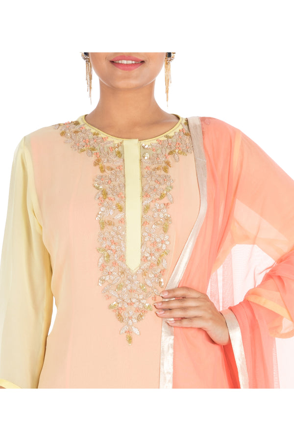 Yellow - peach double layered suit