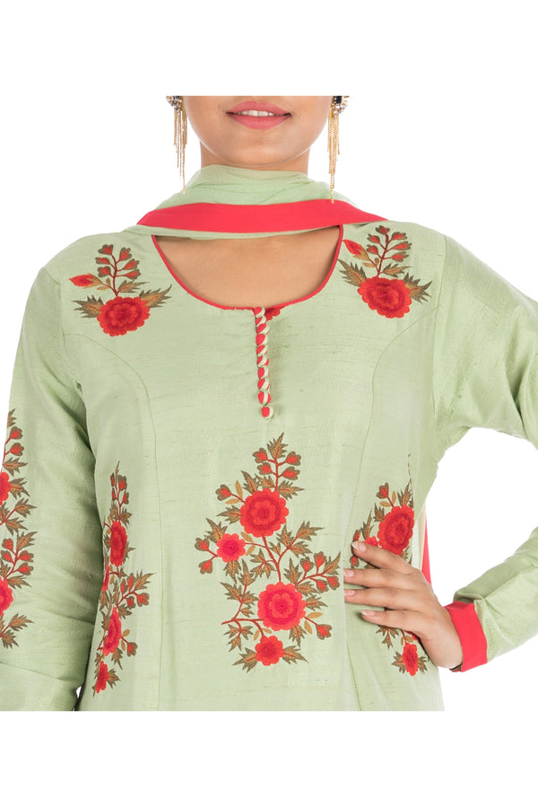 Pistachio green  anarkali suit