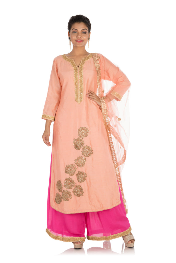 Rose pink suit with hot pink palazzo