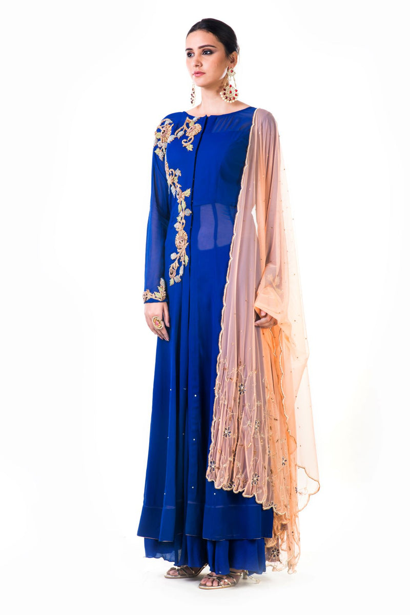 Royal Blue Sharara Set