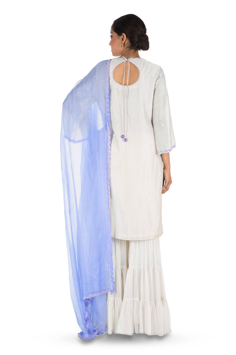 Hand Embroidered Off White Three Layer Sharara Set.