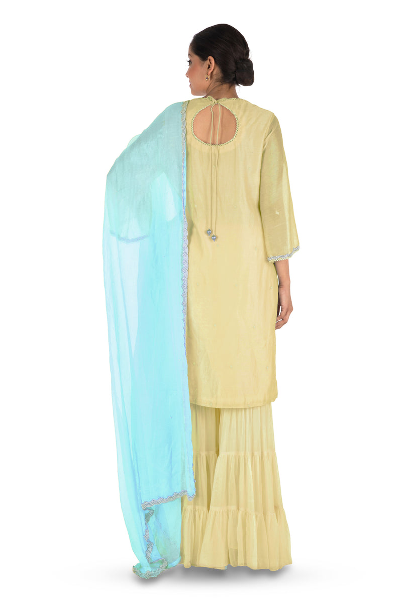 Hand Embroidered Yellow Three Layer Sharara Set.
