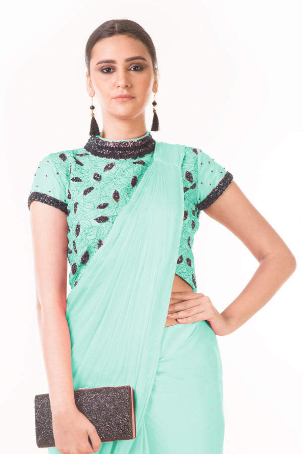 Draped Dhoti with Shaded Palla & Embroidered Croptop