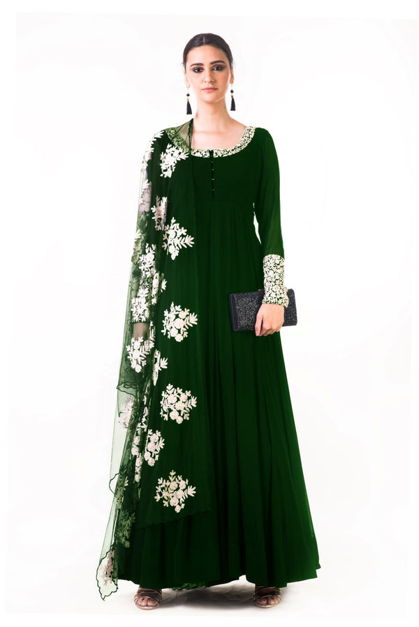 Black Anarkali Dress with Aari work