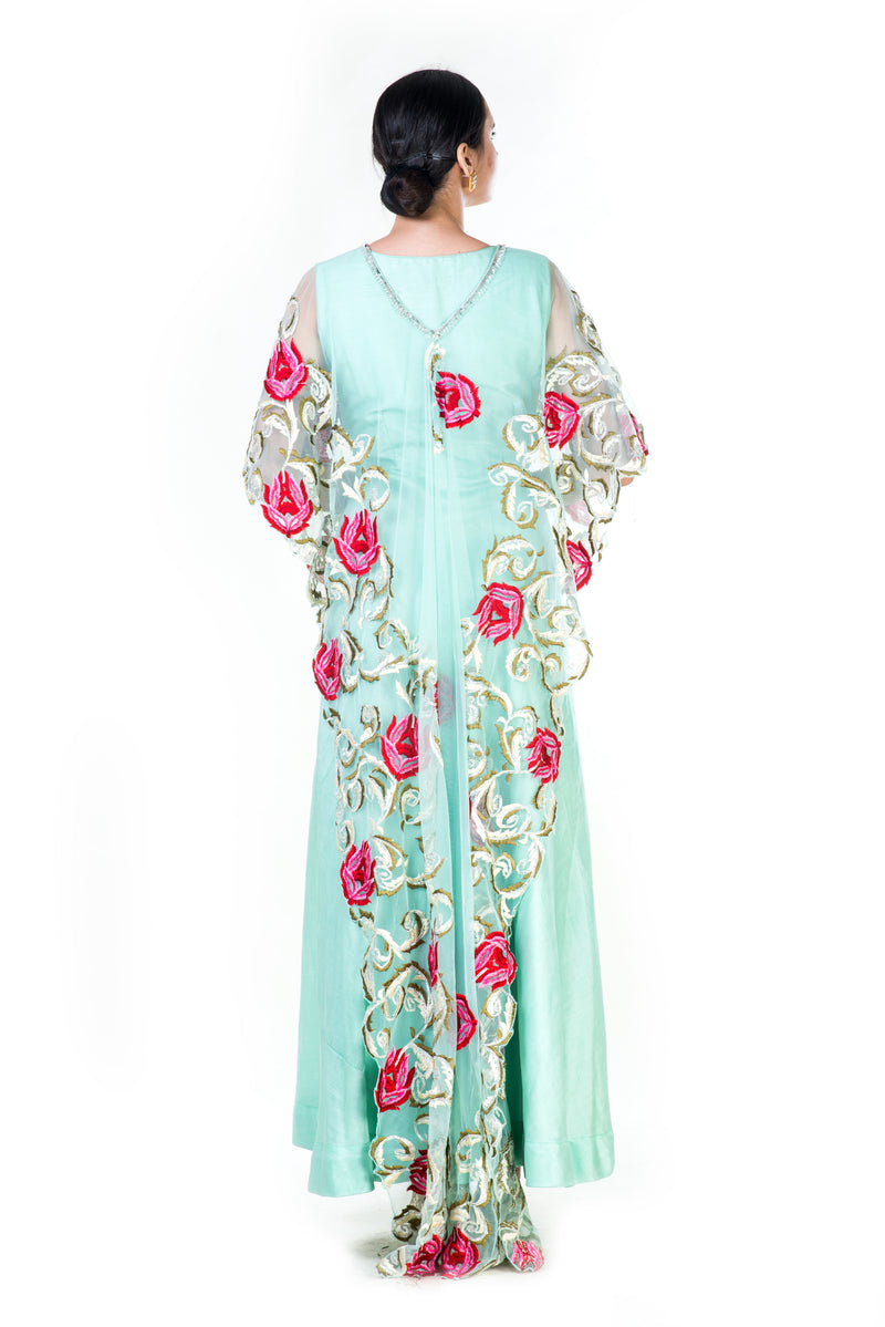 Ferozi Gown With a Floral Threadwork Cape