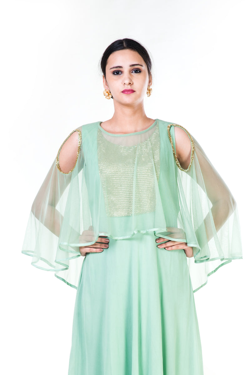 Green Sequin work Cold Shoulder Gown
