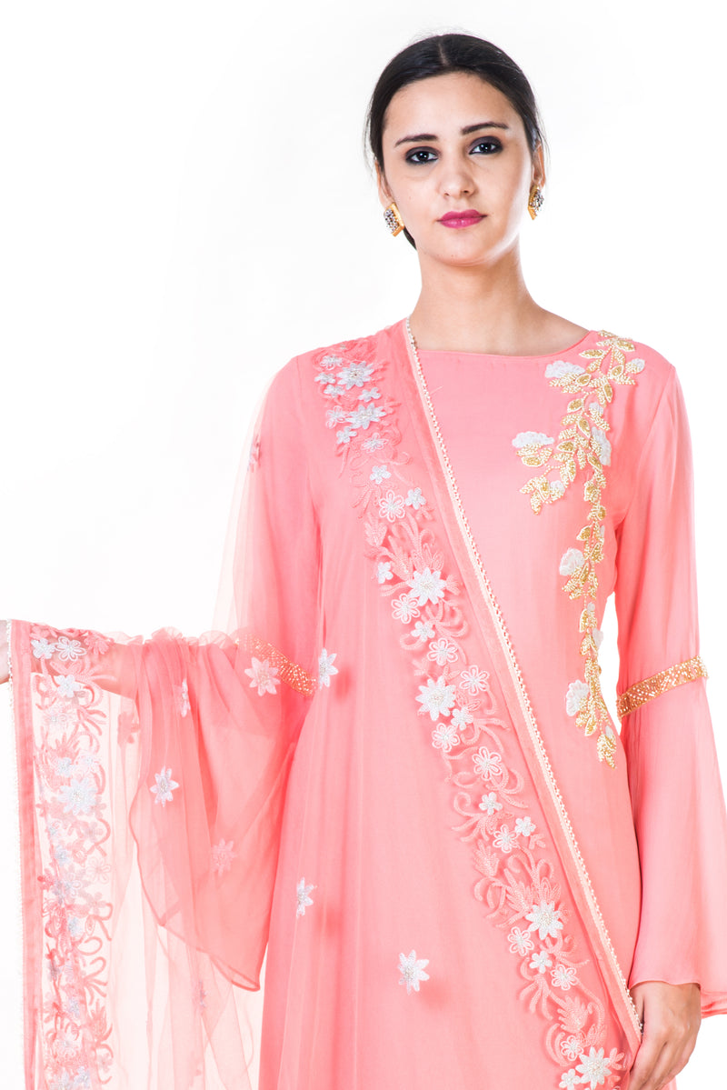 Hand Embroidered Light Pink Anarkali with a Floral Embroidered Dupatta