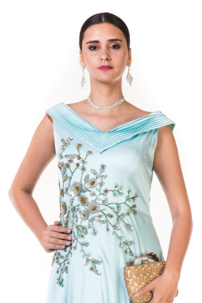 Sky Blue Embroidered Asymmetrical Layered Gown