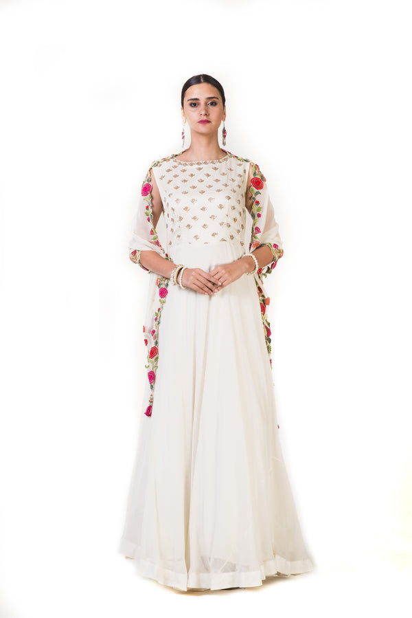Off-white Embroidered Gown with a Floeal Embroidered Scarf Dupatta