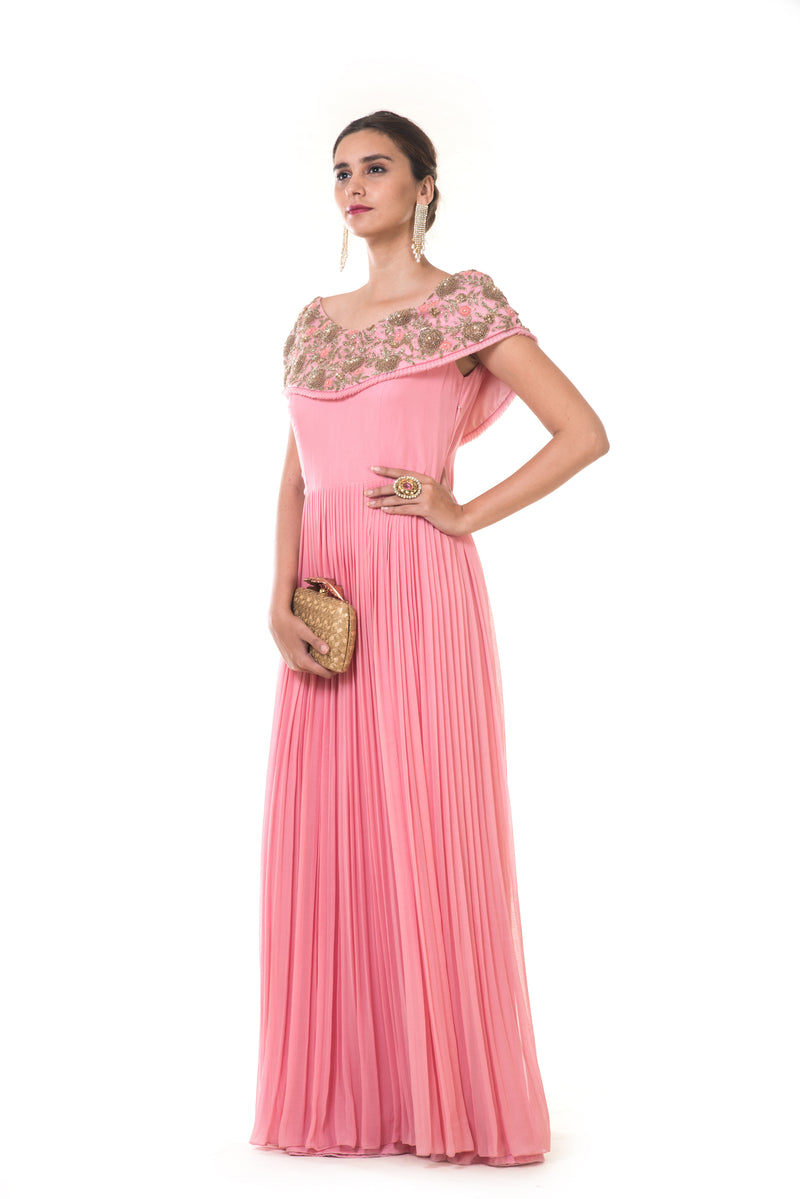 Hand Embroidered Rose Pink Cape Style Micro Pleated Gown