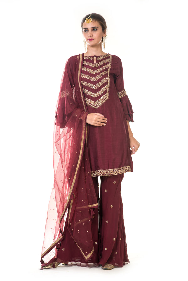 Maroon Hand Embroidered Kurta & Sharara with a Dupatta