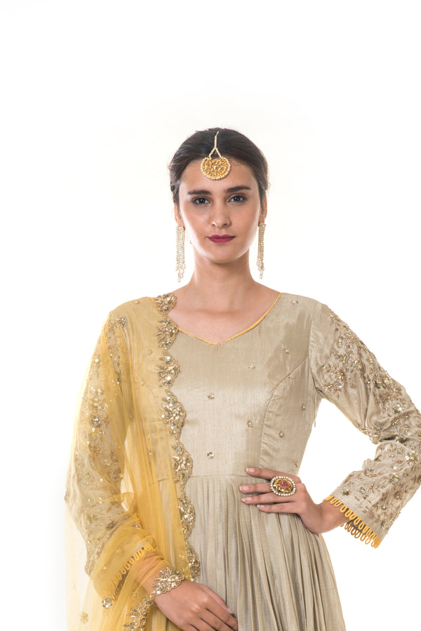 Grey Pleated Gown with Sleeves Embroidery & Yellow Dupatta