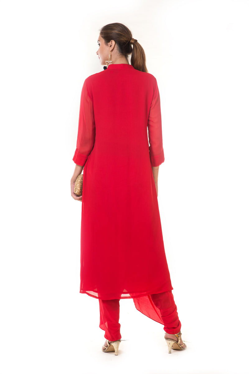 Red Floral Embroidered Kurta with Dhoti Pants