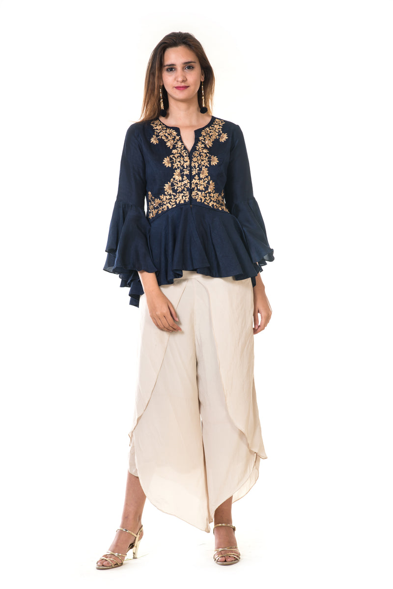 Hand Embroidered Peplum Top with Bell Sleeves & Dhoti Pant