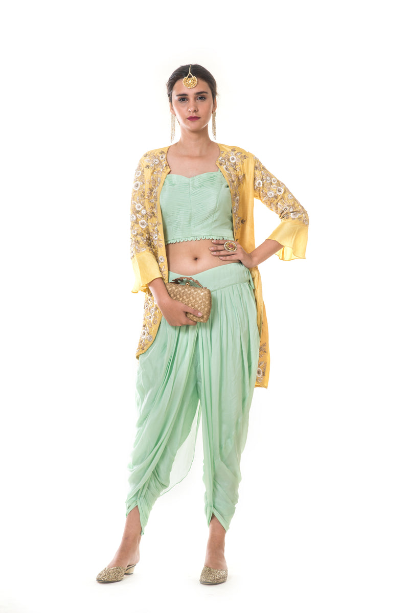 Hand Embroidered Yellow Jacket & Green Blouse  & Dhoti Set